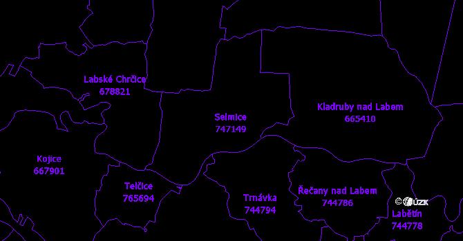 Katastrální mapa Selmice