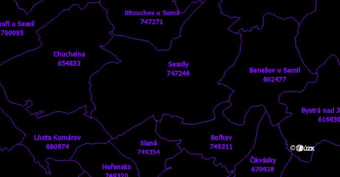 Katastrální mapa Semily