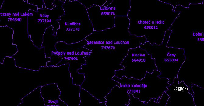Katastrální mapa Sezemice