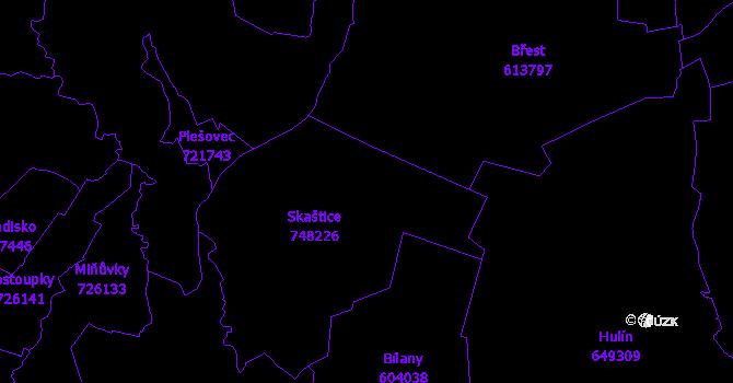 Katastrální mapa Skaštice