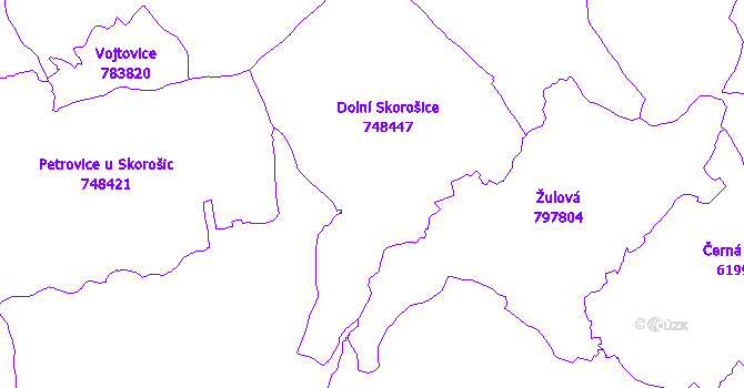 Katastrální mapa Skorošice