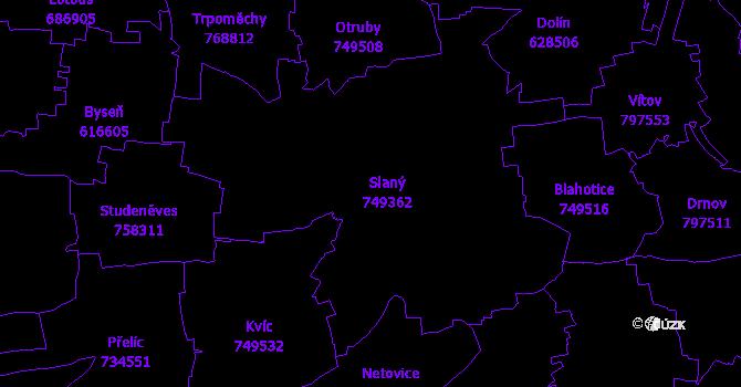 Katastrální mapa Slaný
