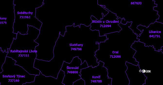 Katastrální mapa Slatiňany
