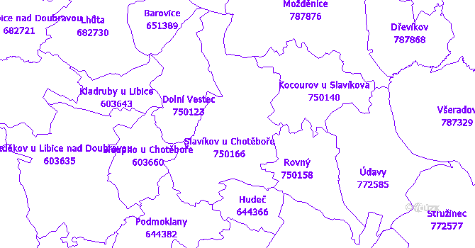 Katastrální mapa Slavíkov