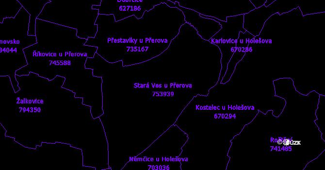 Katastrální mapa Stará Ves