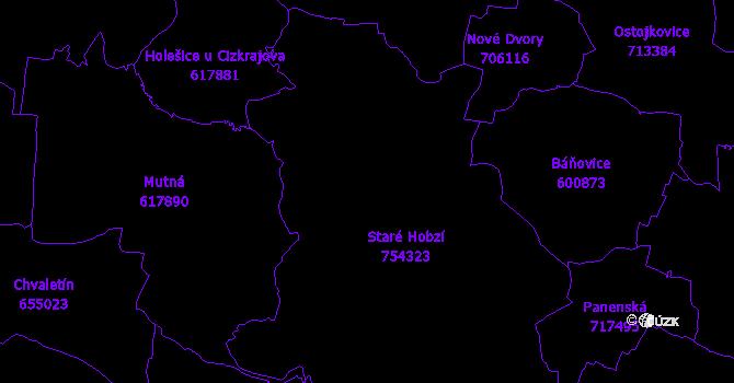 Katastrální mapa Staré Hobzí