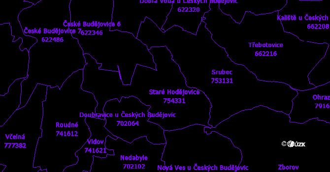 Katastrální mapa Staré Hodějovice