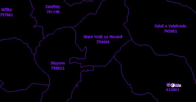 Katastrální mapa Staré Hutě