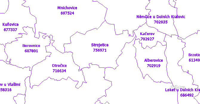 Katastrální mapa Strojetice