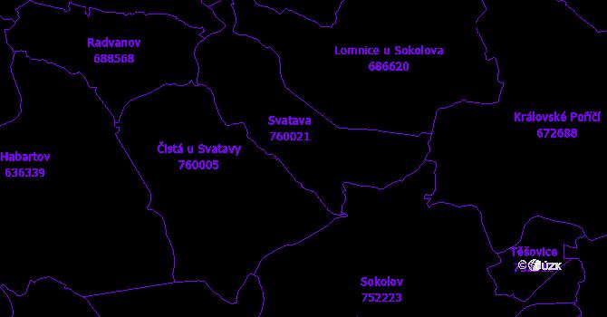 Katastrální mapa Svatava