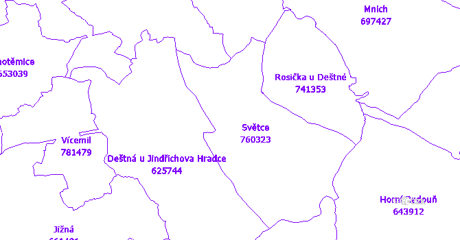 Katastrální mapa Světce