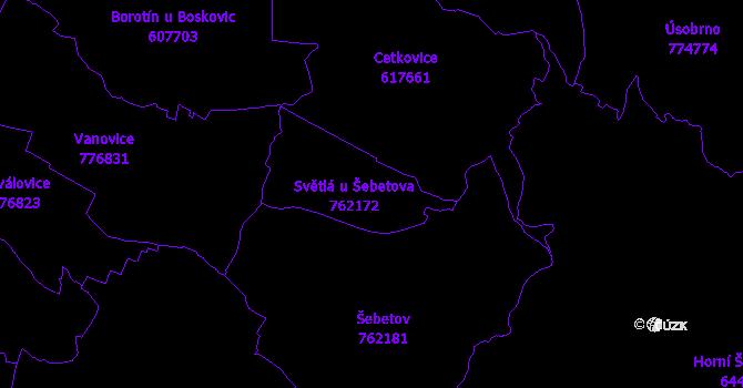 Katastrální mapa Světlá