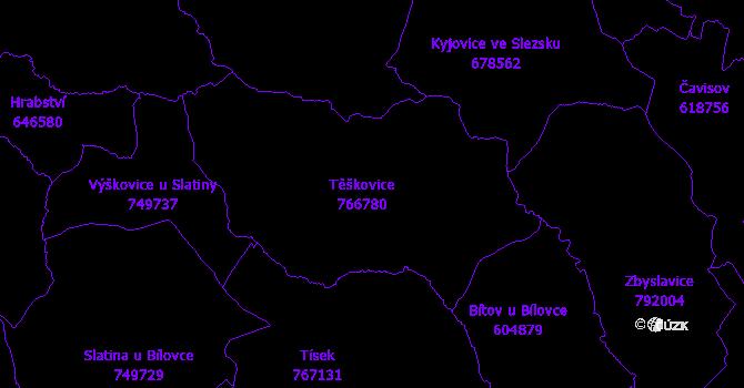 Katastrální mapa Těškovice