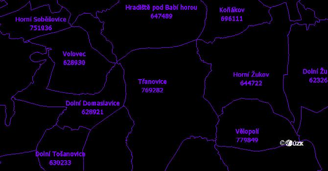 Katastrální mapa Třanovice