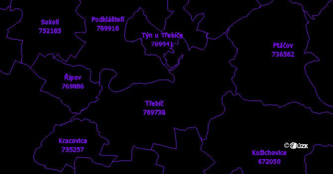 Katastrální mapa Třebíč