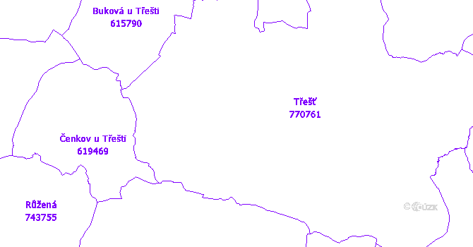 Katastrální mapa Třešť