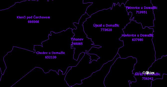 Katastrální mapa Trhanov