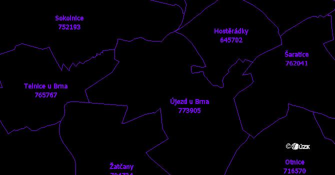 Katastrální mapa Újezd u Brna