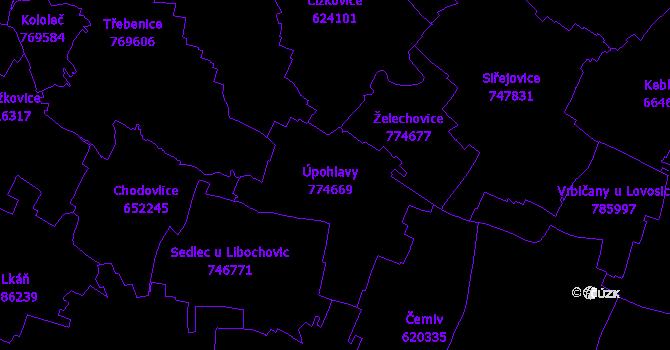 Katastrální mapa Úpohlavy