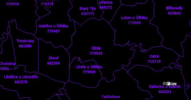 Katastrální mapa Úštěk