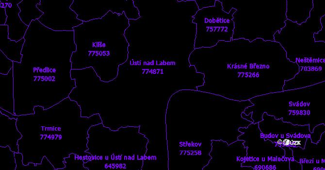 Katastrální mapa Ústí nad Labem