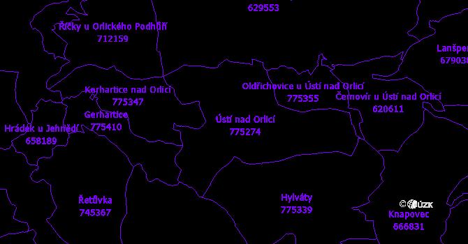 Katastrální mapa Ústí nad Orlicí