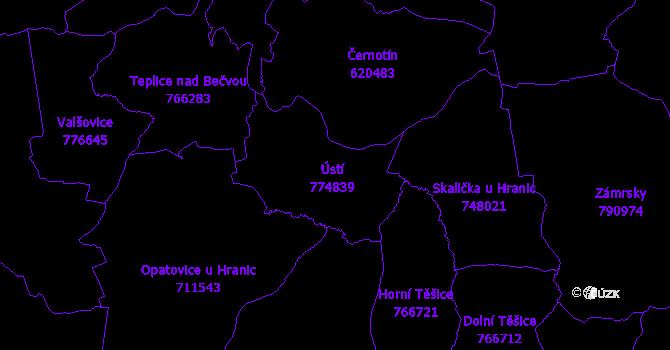Katastrální mapa Ústí