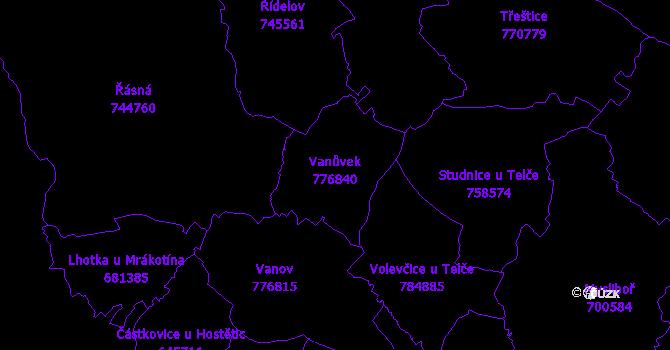 Katastrální mapa Vanůvek