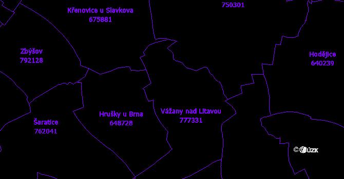 Katastrální mapa Vážany nad Litavou