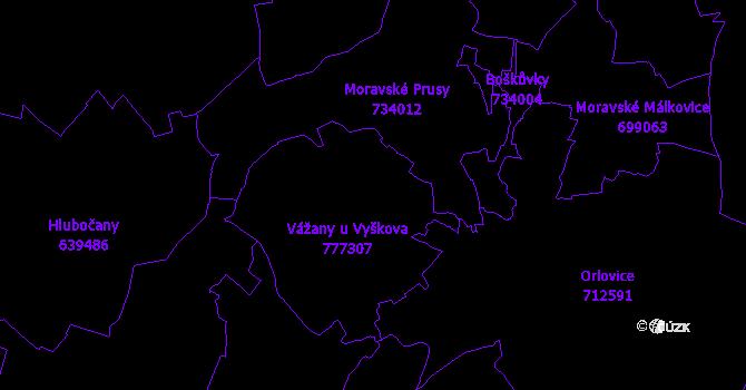 Katastrální mapa Vážany