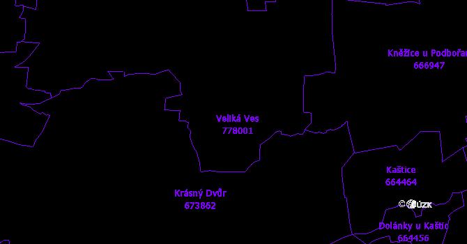 Katastrální mapa Veliká Ves