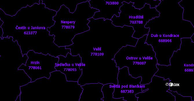 Katastrální mapa Veliš