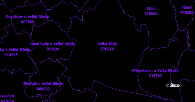 Katastrální mapa Velká Bíteš