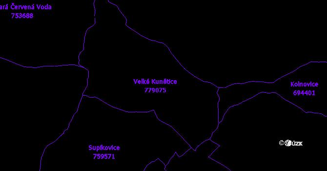 Katastrální mapa Velké Kunětice