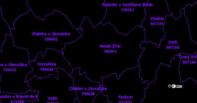 Katastrální mapa Veselý Žďár