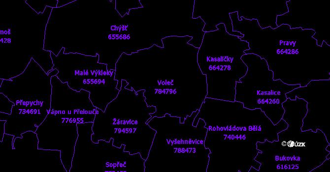 Katastrální mapa Voleč