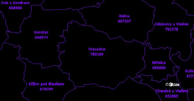 Katastrální mapa Vracovice