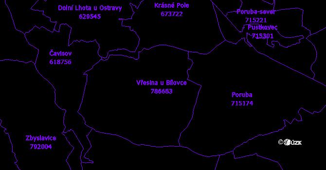 Katastrální mapa Vřesina