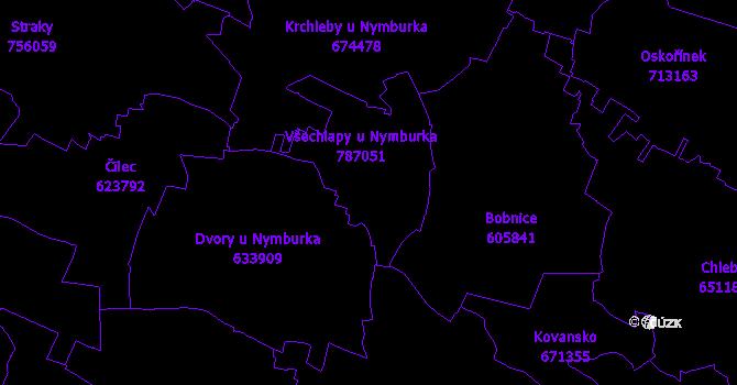 Katastrální mapa Všechlapy