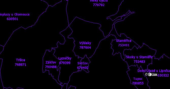 Katastrální mapa Výkleky