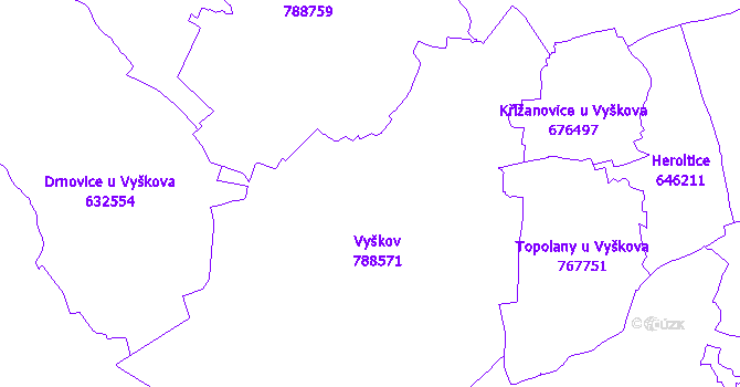 Katastrální mapa Vyškov