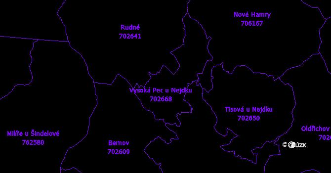 Katastrální mapa Vysoká Pec