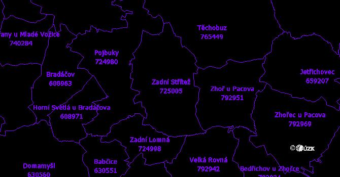 Katastrální mapa Zadní Střítež