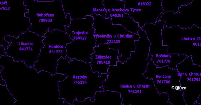 Katastrální mapa Zájezdec