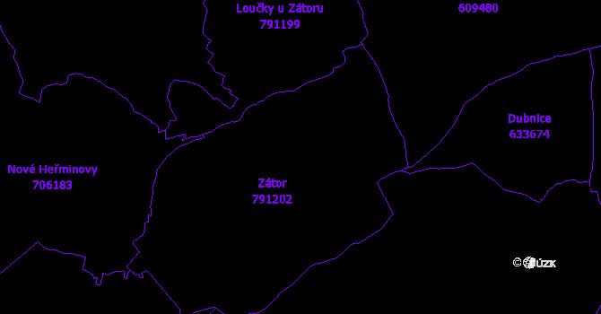 Katastrální mapa Zátor