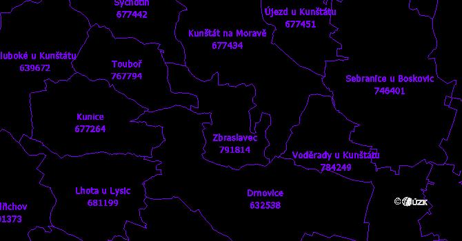 Katastrální mapa Zbraslavec