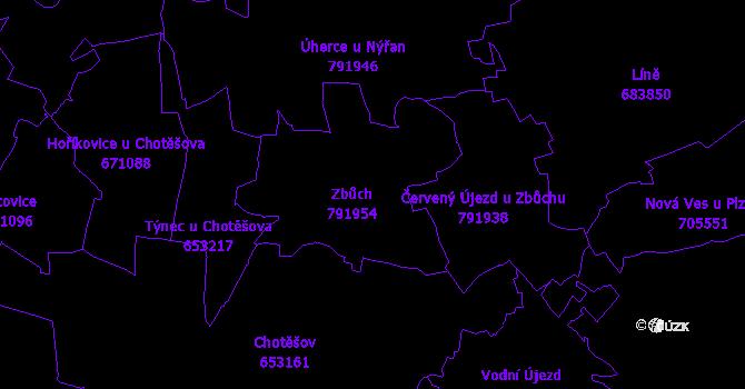 Katastrální mapa Zbůch