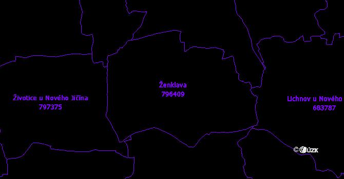 Katastrální mapa Ženklava