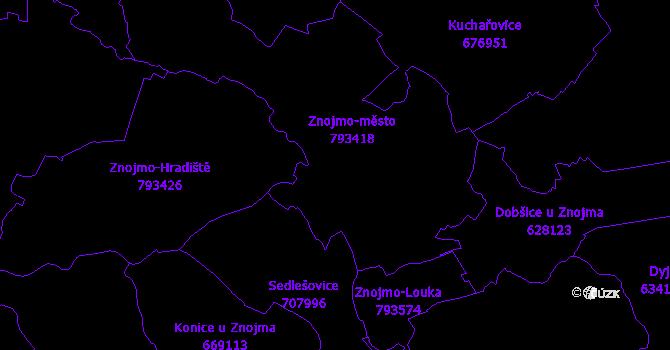 Katastrální mapa Znojmo