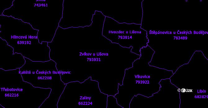 Katastrální mapa Zvíkov